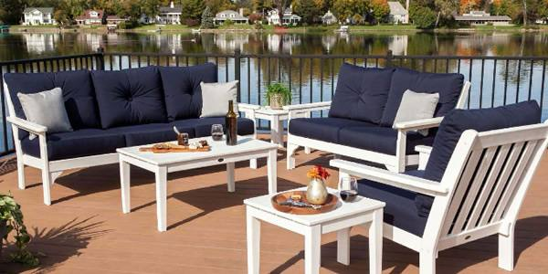 Fancy Idea White Patio Furniture Outdoor Modern With Blue Cushions Kitchen  Ideas Living Room