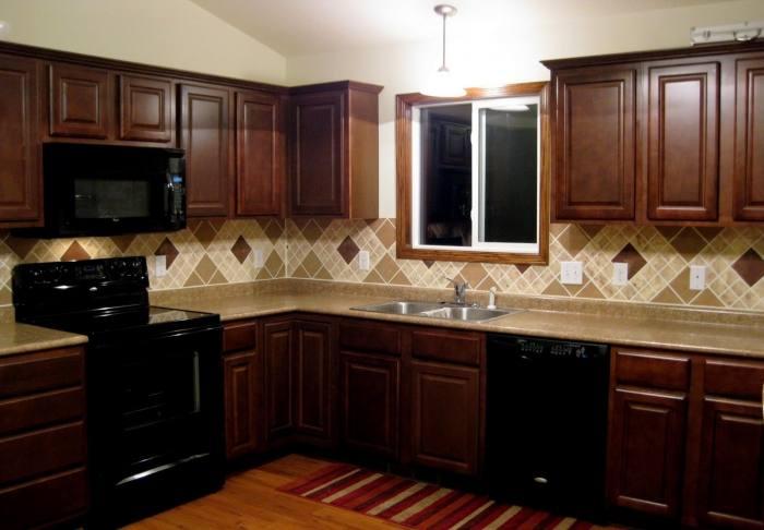Agreeable Kitchen Decoration With Designer Kitchen Backsplash Design  Ideas : Elegant Kitchen Decoration Using Cherry Wood