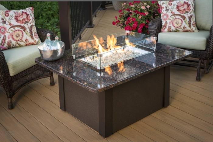 Tile Steel Wood Burning Fire Pit Table
