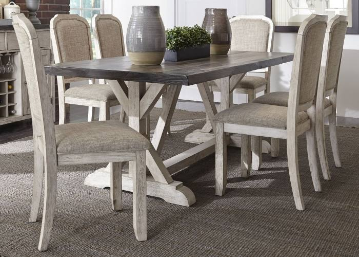 New Classic Tuscany Park6 Piece Trestle Dining Table Set