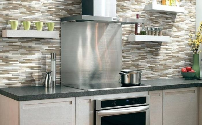 Silver metal and glass tile backsplash ideas bathroom brushed stainless  steel   Bravotti