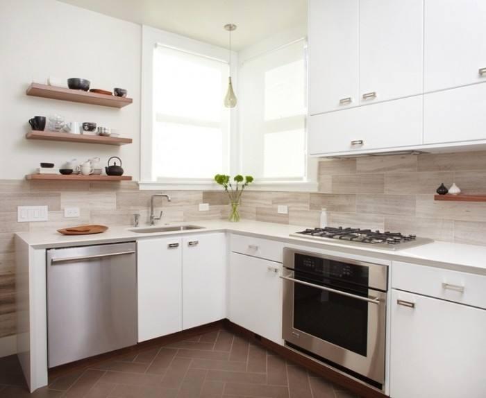 Extend your stylish subway tile backsplash across your kitchen walls to create a elegant vibe