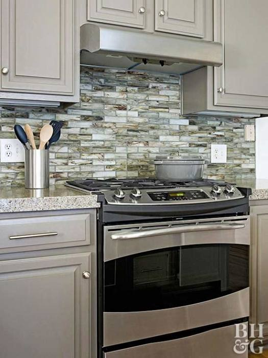 Kitchen counters are also installed  before the