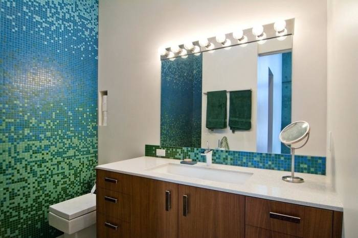 It can be nice to match the backsplash to other elements in the bathroom  such as