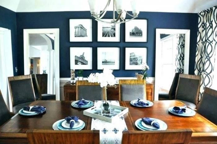 navy blue wall dining room light grey floor tile industrial black hanging  lamp navy blue wall