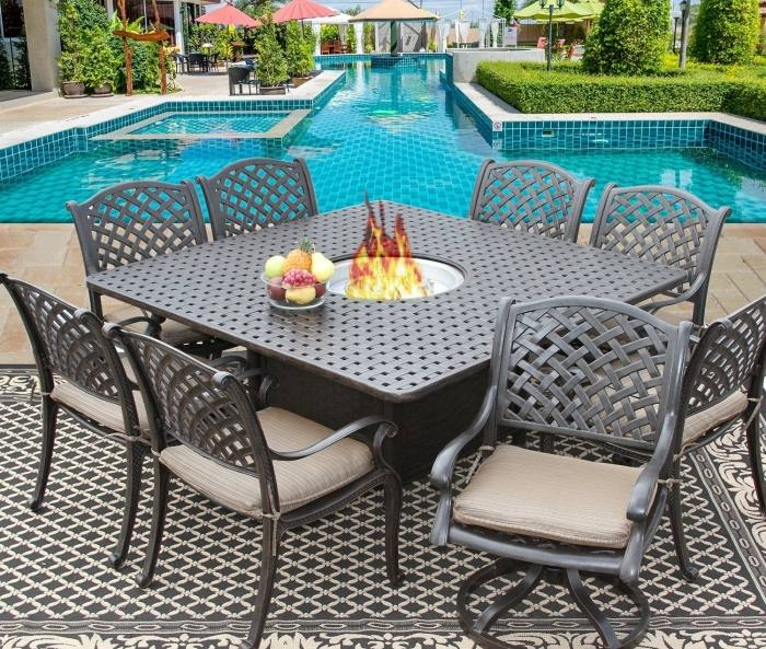 Large Size of Patio Ideas:lazy Susan For Patio Table Dommano Cast  Aluminum Outdoor Patio