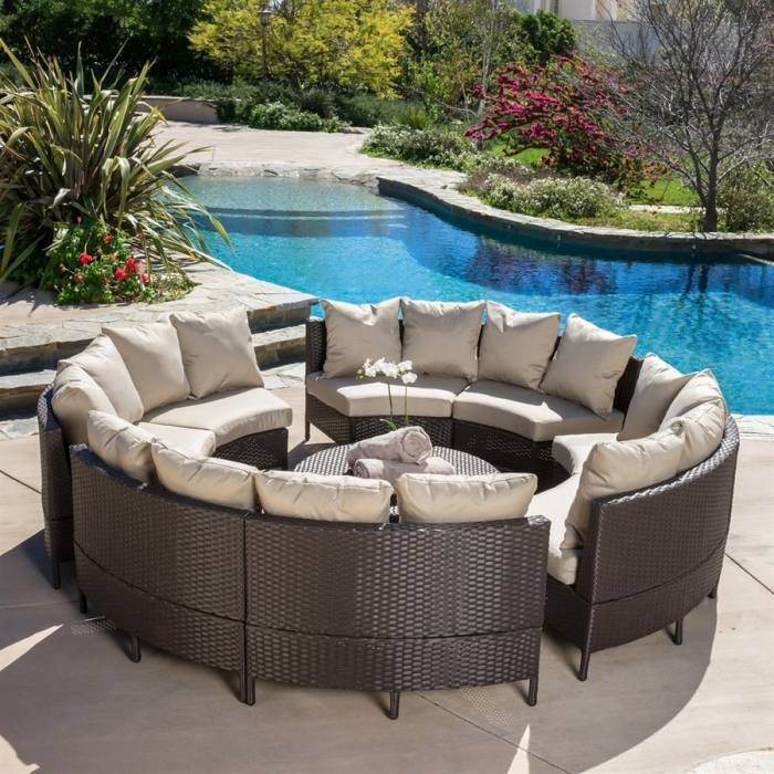 Lourde Living Silver Collection Tuvalu 4 Piece Rattan Wicker and Steel  Outdoor Patio Furniture Conversation Set