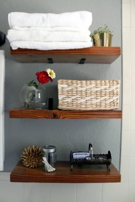 open shelving bathroom  vanity