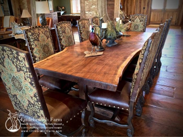 Table in Early American stain on top and Black painted base pairs  stunningly with 6 Double X Back Chairs