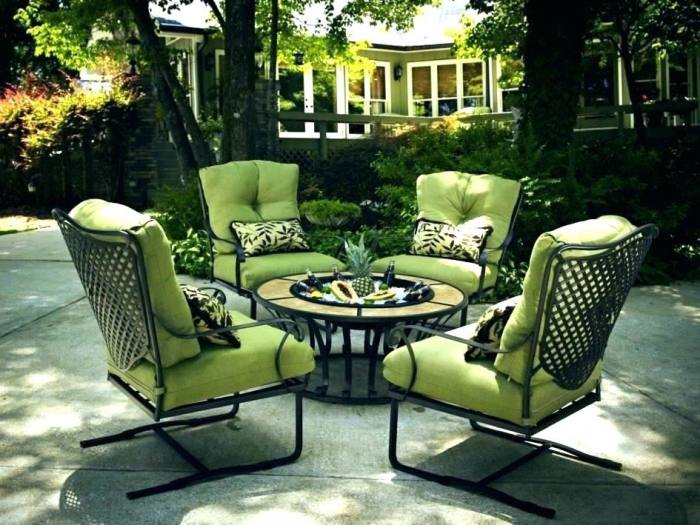 Rare set of four dark green round wrought iron garden or patio chairs by  Salterini