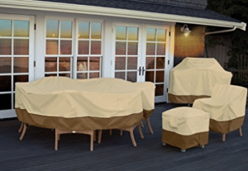 Classic Accessories Veranda Oval/Rectangular Patio Table & Chair Set Cover  – Durable and Water Resistant Outdoor Furniture Cover, Pebble, Large,