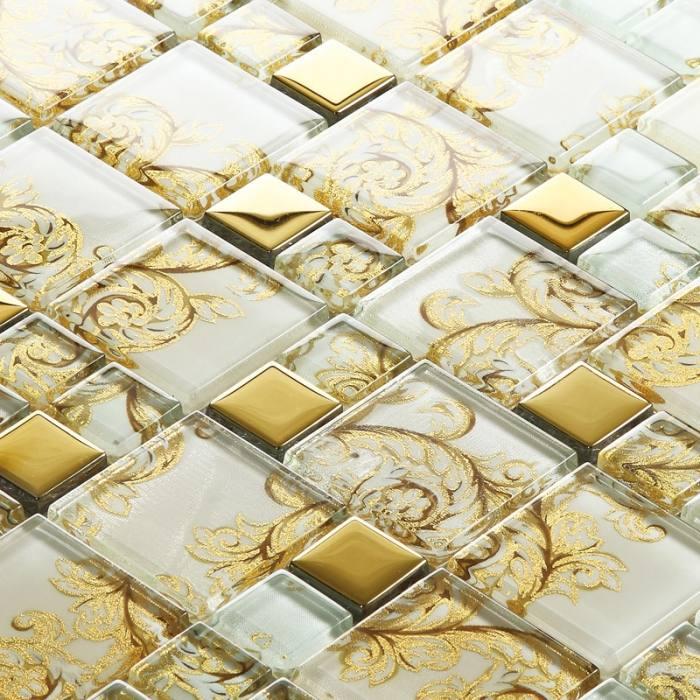 Ideas & Inspirations Medium size Modern Cream Wall Glass Mosaic Tile  Backsplash That Can Be Decor