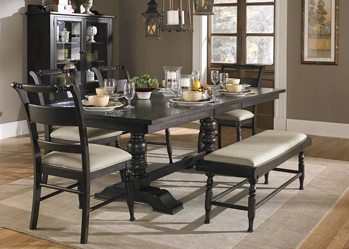 Restoration Hardware's beautiful dining room ensemble features tufted chairs