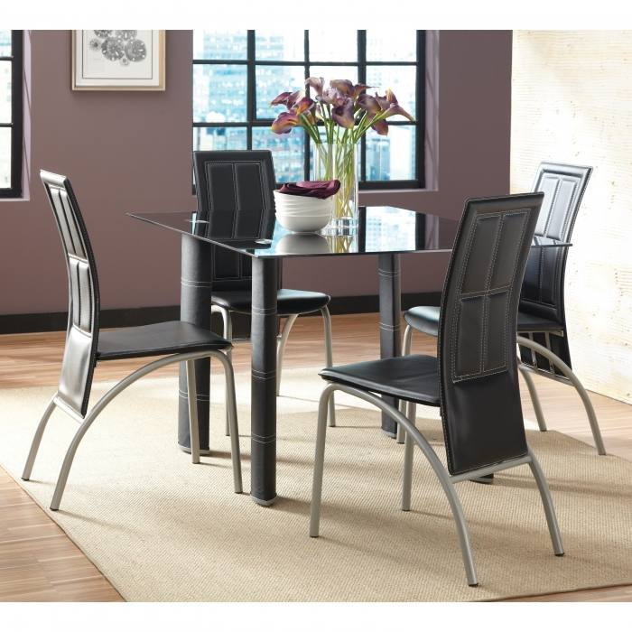 Dining Tables, Round Glass Dining Table Set Round Glass Dining Table  For 6 Black Glass