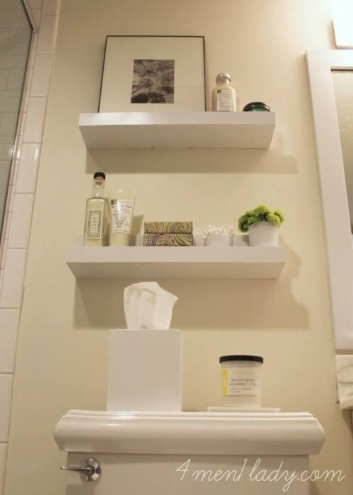 DIY shelves for a bathroom