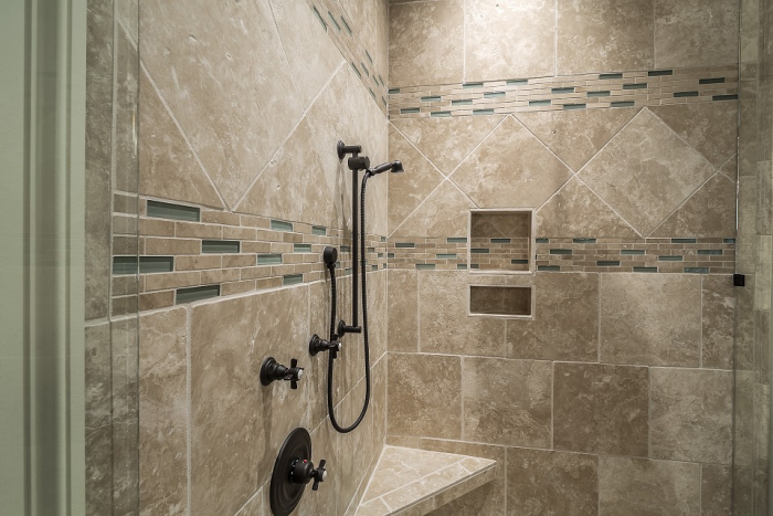 niche Awesome Shower Tile Ideas Make Perfect Bathroom Designs Always: Beautiful Shower Tile Ideas Glass Cover Shower Metalic Shower ~ gnibo