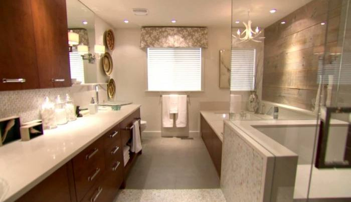 Small Bathroom Small white bathroom with plank boards and  beadboard walls