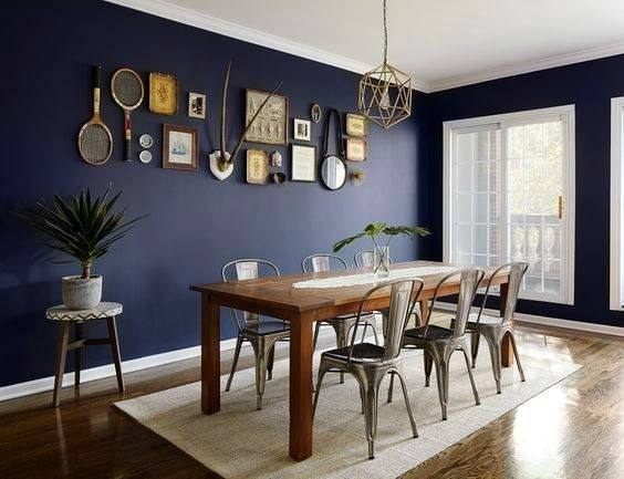 blue accent walls for living room