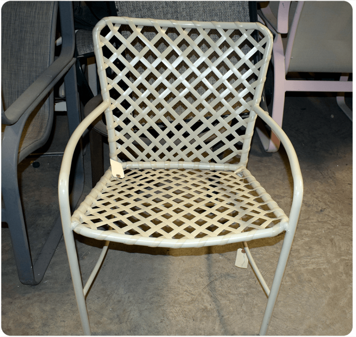 Watermark Living Strap Patio Dining Chair White Pebble GARD1610RWHPB