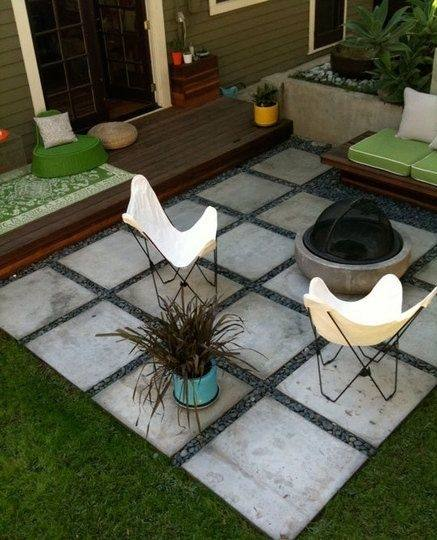 modern concrete patio