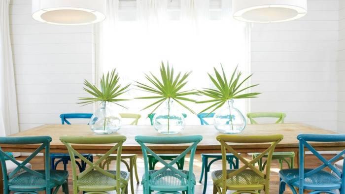 blue paint colours – Dekko Bird – bucket dining room chairs